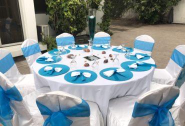 Prédot sur les tons turquoise et blanc d'une cliente Agence Dorée